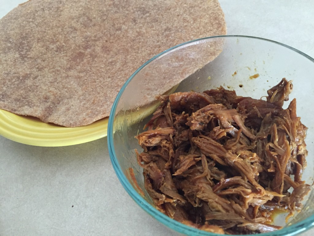 pulled pork and whole wheat tortillas